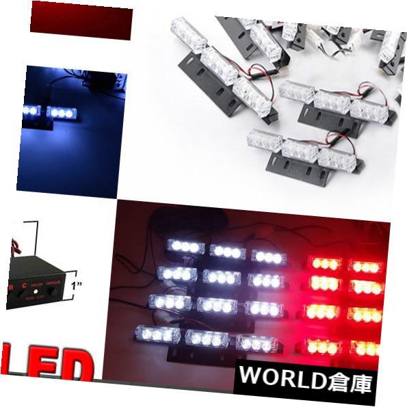 LEDライトバー 72LED車両グリル緊急警報灯バーダッシュストロボ点滅赤白 72LED Vehicle Grill Emergency Warning Light Bar Dash Strobe Flashing Red White