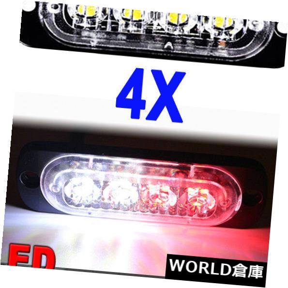 LEDライトバー 4×赤白4 LED車トラック緊急ビーコン警告フラッシュストロボライトバー12 v 4X Red White 4 LED Car Truck Emergency Beacon Warning Flash Strobe Light Bar 12V