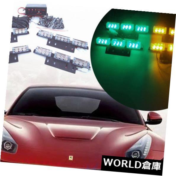 LEDライトバー 36 LEDトラック緊急警告点滅ストロボグリルライトバーランプグリーンアンバー 36 LED Truck Emergency Warning Flashing Strobe Grill Light Bar Lamp Green Amber