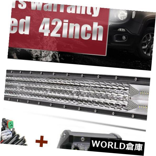 LEDライトバー 42インチ2400WカーブLEDワークライトバー洪水スポットオフロードランプ42