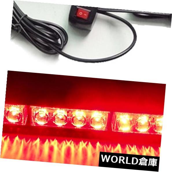 LEDライトバー 12 LEDレッドカー緊急点滅ライトバーハザードストロボ警告ランプ12V 12 LED Red Car Emergency Flashing Light Bar Hazard Strobe Warning Lamp 12V