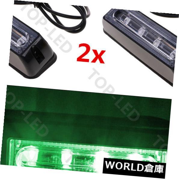 LEDライトバー 2x 4LED COB車緊急ハザード警告ビーコンストロボライトバーグリル12Vグリーン 2x 4LED COB Car Emergency Hazard Warning Beacon Strobe Light Bar Grill 12V Green