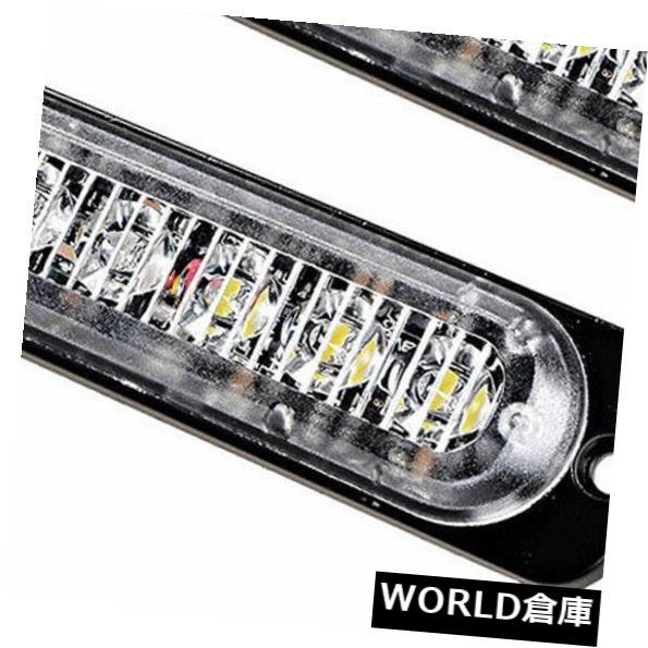 LEDライトバー 2Xアンバーホワイト6 LEDカー緊急ビーコン警告ハザードフラッシュストロボライトバー 2X Amber White 6 LED Car Emergency Beacon Warning Hazard Flash Strobe Light Bar