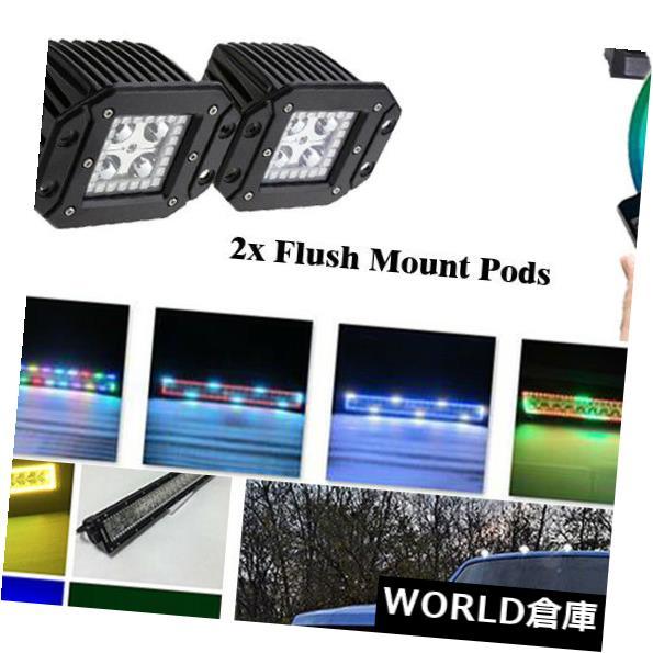 LEDライトバー 22インチLEDワークライトバー+ 2xフラッシュマウントポッドワイヤレスBluetooth RGBハローリング 22Inch LED Work Light Bar + 2x Flush Mount Pods Wireless Bluetooth RGB HALO RING