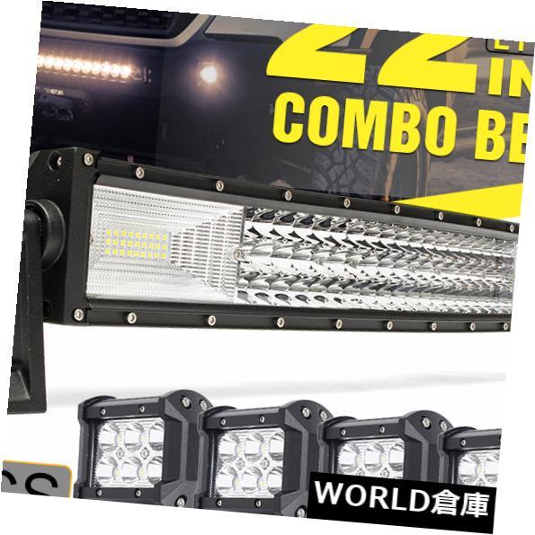 LEDライトバー 22インチ648WカーブLEDワークライトバー+ 4X 4インチ18Wスポットキューブポッドオフロード車 22'' Inch 648W Curved LED Work Light Bar + 4X 4'' 18W SPOT Cube Pods Offroad Car