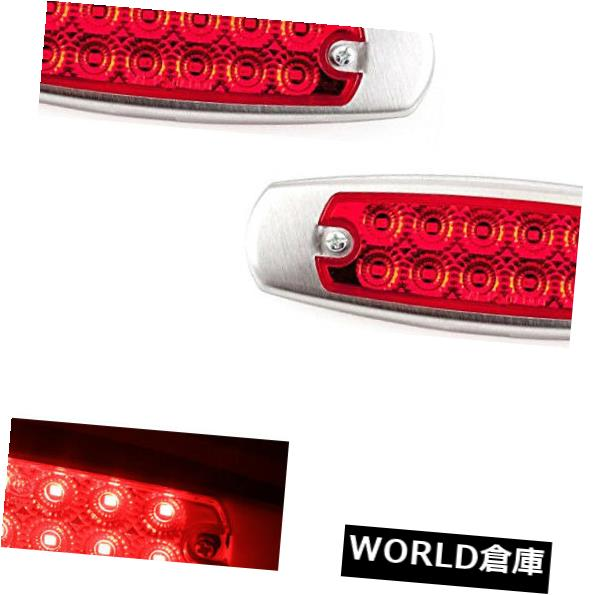 1X Red 12LED Side Clearance Marker Light Lamp Fish Chrome Heavy Truck Trailer UY