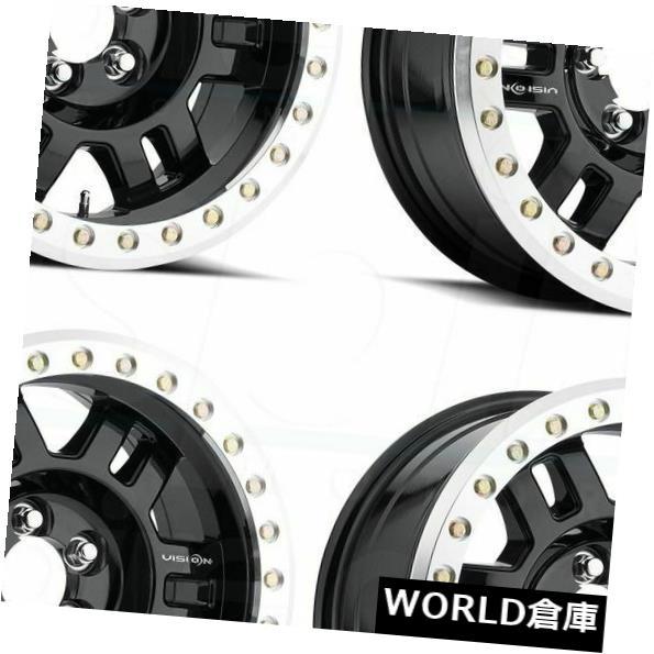 海外輸入ホイール 18x9 Vision 398 Manx 6x5.5 / 6x139.7 0ブラックマシニングドリップホイールリムセット(4) 18x9 Vision 398 Manx 6x5.5/6x139.7 0 Black Machined Lip Wheels Rims Set(4)