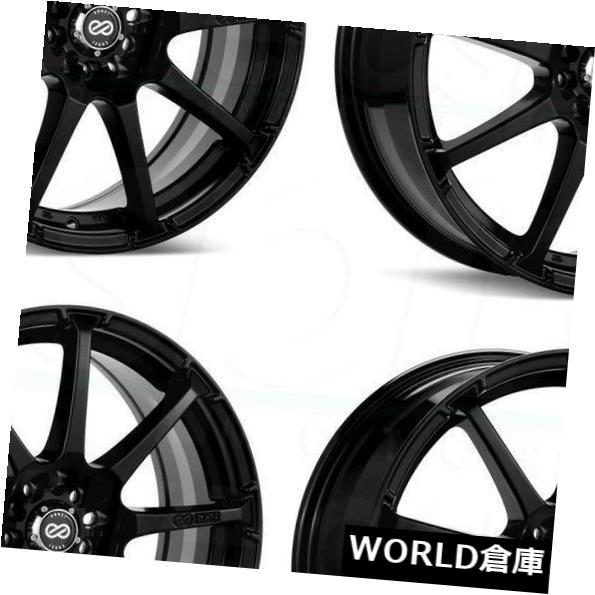 海外輸入ホイール 18x7.5 Enkei EDR9 5x100 / 114.3 38ブラックペイントホイールリムセット(4) 18x7.5 Enkei EDR9 5x100/114.3 38 Black Paint Wheels Rims Set(4)