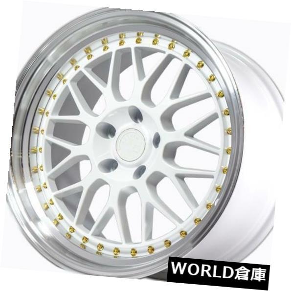 海外輸入ホイール 18x8.5 / 18x9.5 Aodhan AH02 AH2 5x100 35/30ホワイトゴールドリベットホイールリムセット(4) 18x8.5/18x9.5 Aodhan AH02 AH2 5x100 35/30 White Gold Rivet Wheels Rims Set(4)