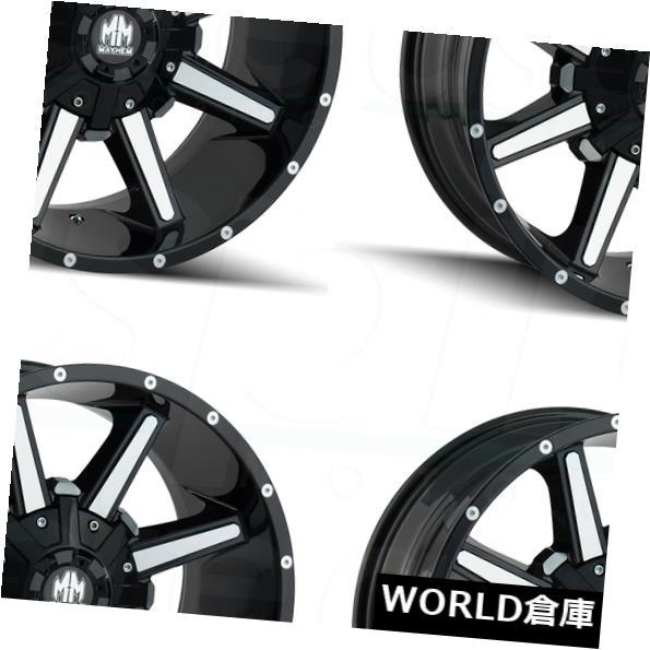 海外輸入ホイール 17x9メイヘムアーセナル6x120 / 6x5.5 18グロスブラックマシニングホイールリムセット(4) 17x9 Mayhem Arsenal 6x120/6x5.5 18 Gloss Black Machined Wheels Rims Set(4)