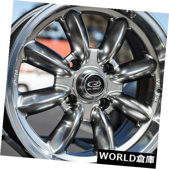 海外輸入ホイール 15x7 Rota Rb 4x100 25ロイヤルハイパーブラックホイールリムセット(4) 15x7 Rota Rb 4x100 25 Royal Hyper Black Wheels Rims Set(4)