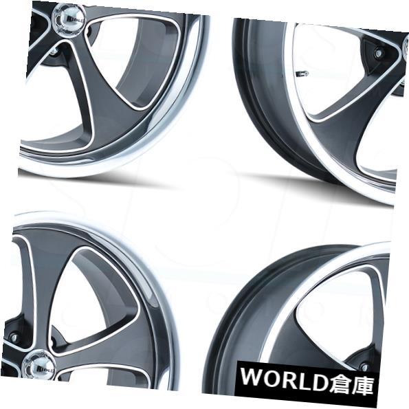 海外輸入ホイール 17x7 Ridler 645 5x5 / 5x127 0ブラックポリッシュリップホイールリムセット(4) 17x7 Ridler 645 5x5/5x127 0 Black Polished Lip Wheels Rims Set(4)