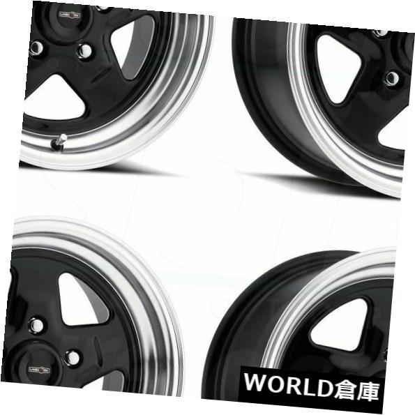 車用品 バイク用品 >> タイヤ ホイール 海外輸入ホイール 15x4 Vision 521 Nitro Set 爆売り Rims -19ブラックポリッシュリップホイールリムセット -19 Black Polished Lip Wheels 5x4.75 4 卸直営