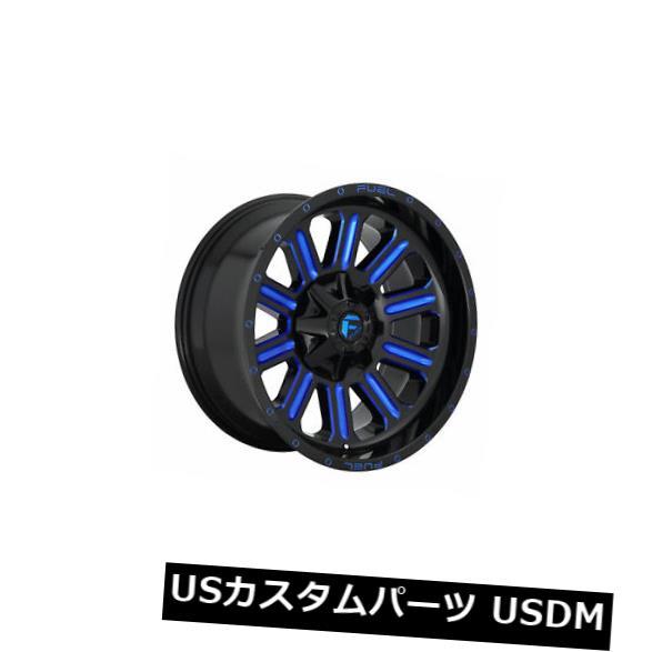 海外輸入ホイール 4個の20x9燃料D646ハードラインET 01ブラックブルー6x135ホイールリムのセット Set of 4 20x9 Fuel D646 Hardline ET 01 Black Blue 6x135 Wheels Rims