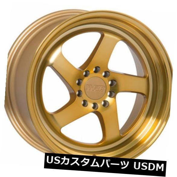 海外輸入ホイール 18x9.5 F1R F28 5x100 / 114.3 +20マシニングゴールドホイール(4個セット) 18x9.5 F1R F28 5x100/114.3 +20 Machined Gold Wheels (Set of 4)