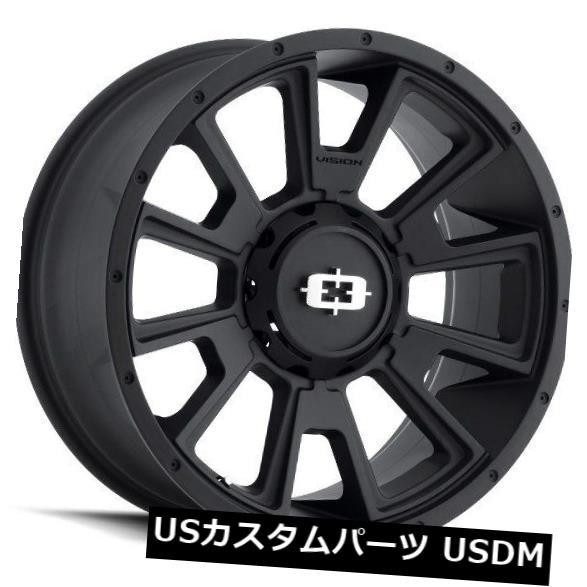 海外輸入ホイール 20X9 Vision 391 Rebel 8x170 ET-12サテンブラックホイール(4個セット) 20X9 Vision 391 Rebel 8x170 ET-12 Satin Black Wheels (Set of 4)