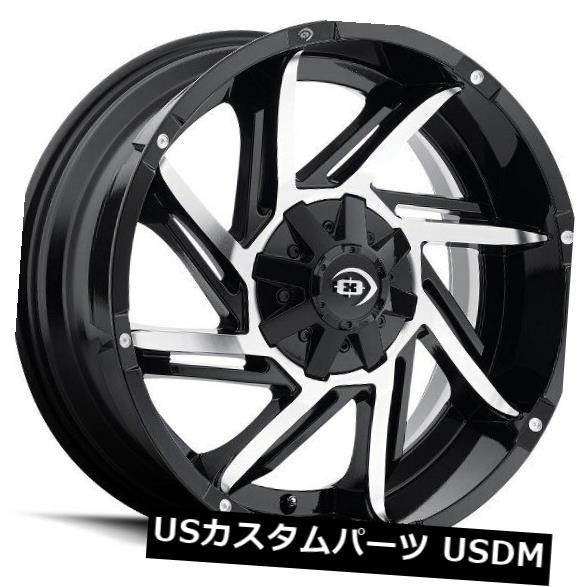 海外輸入ホイール 18X9 Vision 422 Prowler 8x165.1 ET12ブラックマシニングホイール 4個セット 18X9 Vision 422 Prowler 8x165.1 ET12 Black Machined Wheels Set
