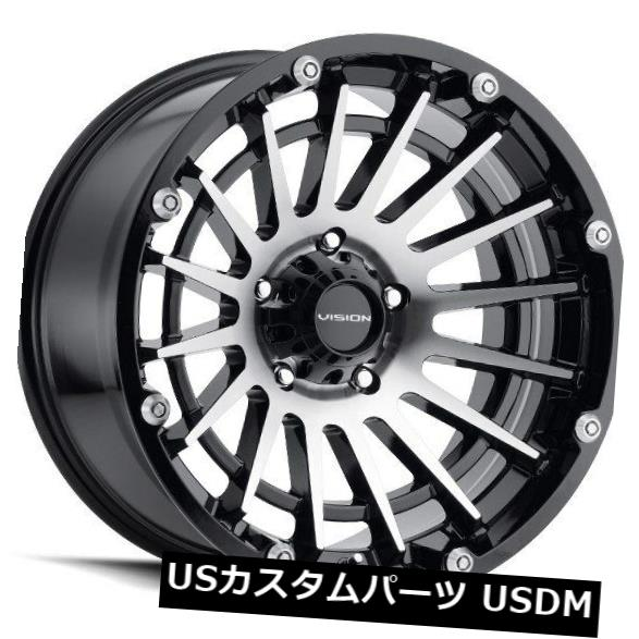 海外輸入ホイール 17X9 Vision 417クリープ8x165.1 ET12グロスブラック機械加工フェイスホイール(4個セット) 17X9 Vision 417 Creep 8x165.1 ET12 Gloss Black Machined Face Wheels (Set of 4)