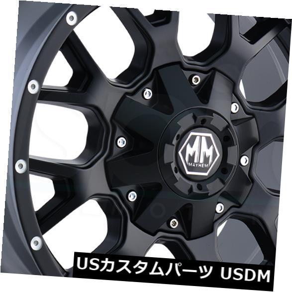 海外輸入ホイール 20x9マットブラックホイールズメイヘムウォリアー8x6.5 / 8x170 18(4個セット) 20x9 Matte Black Wheels Mayhem Warrior 8x6.5/8x170 18 (Set of 4)