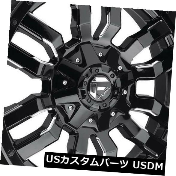 海外輸入ホイール 18x9ブラックミルドホイールフューエルスレッジD595 8x170 20(4個セット) 18x9 Black Milled Wheels Fuel Sledge D595 8x170 20 (Set of 4)