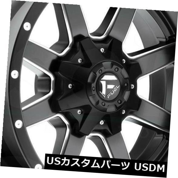海外輸入ホイール 18x9ブラックミルドホイールフューエルマーベリックD538 8x6.5 8x165.1 -12 4個セット 18x9 Black Milled Wheels Fuel Maverick D538 8x6.5 8x165.1 -12 Se