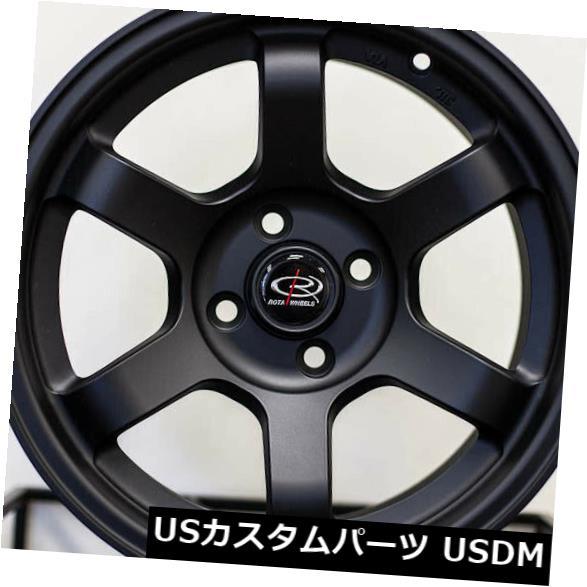 海外輸入ホイール 15x8フラットブラックホイールRota Grid Concave 4x100 20(4個セット) 15x8 Flat Black Wheels Rota Grid Concave 4x100 20 (Set of 4)