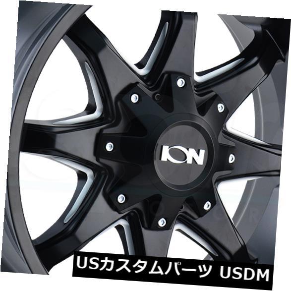 海外輸入ホイール 18x9サテンブラックミルドホイールイオン181 8x6.5 / 8x170 -12(4個セット) 18x9 Satin Black Milled Wheels Ion 181 8x6.5/8x170 -12 (Set of 4)