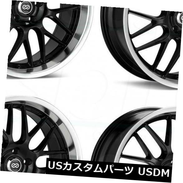 海外輸入ホイール 18x7.5ブラックペイントホイールエンケイルッソ5x100 42 4個セット 18x7.5 Black Paint Wheels Enkei Lusso 5x100 42 Set of 4