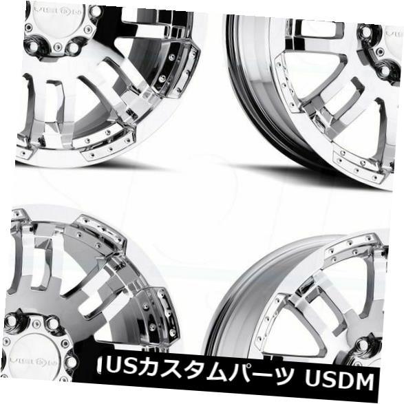海外輸入ホイール 17x8.5ファントムクロームホイールビジョン375ウォリアー6x4.5 6x114.3 18 4個セット 17x8.5 Phantom Chrome Wheels Vision 375 Warrior 6x4.5 6x114.3 18