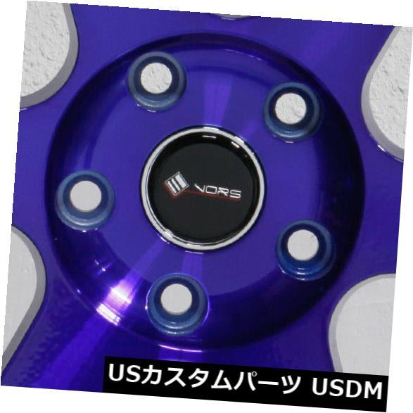 """海外輸入ホイール 4-新しい18インチVors TR37ホイール18x9.5 5x114.3 22キャンディパープルブルーリム 4-New 18"""""""" Vors TR37 Wheels 18x9.5 5x114.3 22 Candy Purple Blue Rims"""