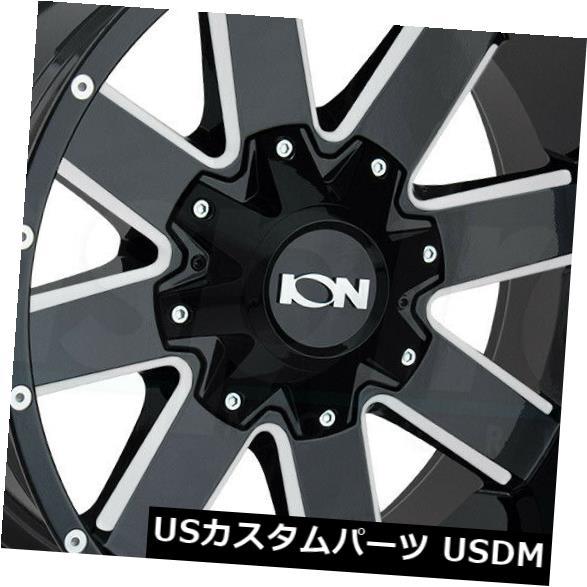 """海外輸入ホイール 4-新しい17インチイオン141ホイール17x9 5x5.5 / 5x139.7 -12グロスブラックミルドリム 4-New 17"""""""" Ion 141 Wheels 17x9 5x5.5/5x139.7 -12 Gloss Black Milled Rims"""
