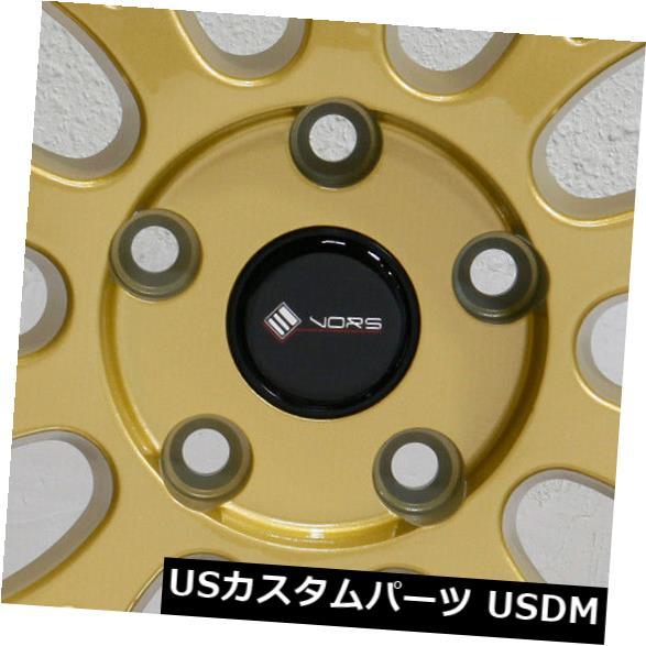 """海外輸入ホイール 4-新しい19インチVors VR8ホイール19x8.5 / 19x9.5 5x108 35/35ゴールドスタッガードリム 4-New 19"""""""" Vors VR8 Wheels 19x8.5/19x9.5 5x108 35/35 Gold Staggered Rims"""