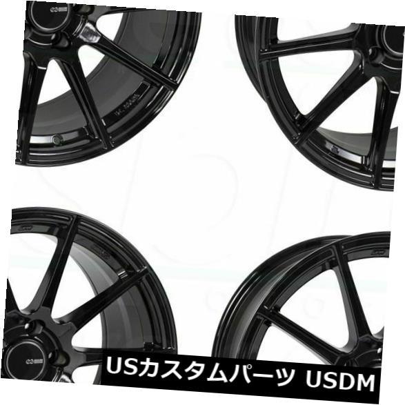 海外輸入ホイール 4-新しい17 Enkei TS10ホイール17x8 5x100 45グロスブラックリム 4-New 17 Enkei TS10 Wheels 17x8 5x100 45 Gloss Black Rims