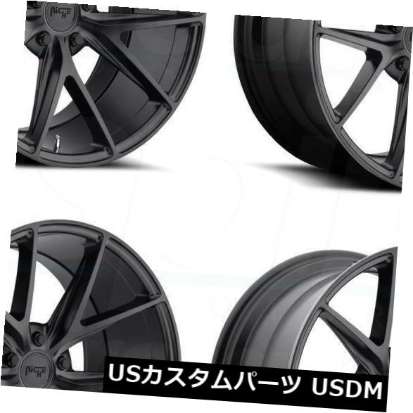海外輸入ホイール 4-新しい18インチNiche Misano M117ホイール18x8 / 18x9.5 5x112 30/35マットブラックスタッガード 4-New 18