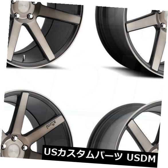 海外輸入ホイール 18x9.5ニッチヴェローナM150 5x114.3 40ブラックマシニングホイールリムセット(4) 18x9.5 Niche Verona M150 5x114.3 40 Black Machined Wheels Rims Set(4)