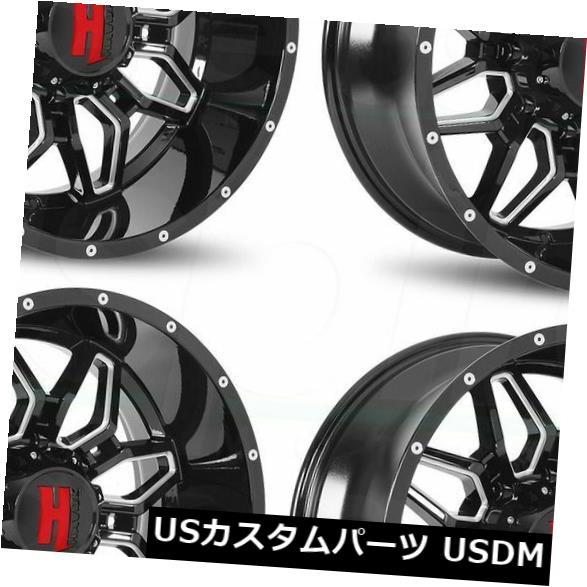 海外輸入ホイール 20x9 Havok H109 5x5 5x127 -12ブラックミルドホイールリムセット 4 20x9 Havok H109 5x5 5x127 -12 Black Milled Wheels Rims Set 4