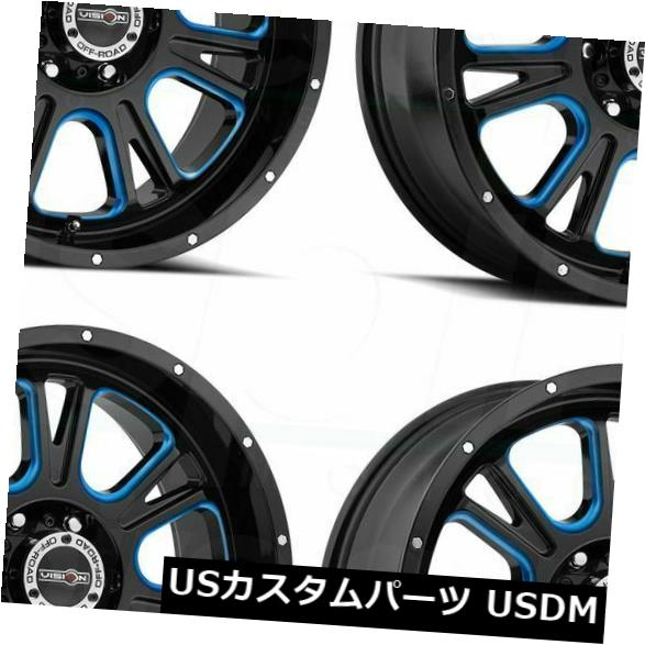 海外輸入ホイール 20x10 Vision 399 Fury 5x5.5 / 5x139.7 -25ブラックブルーティントホイールリムセット(4) 20x10 Vision 399 Fury 5x5.5/5x139.7 -25 Black Blue Tint Wheels Rims Set(4)