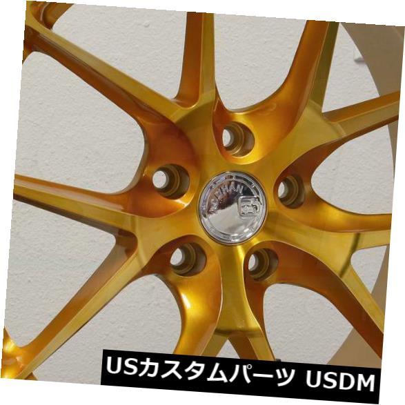 海外輸入ホイール 20x9 Aodhan LS007 LS7 5x120 30ゴールド加工フェイスホイールリムセット(4)合金 20x9 Aodhan LS007 LS7 5x120 30 Gold Machined Face Wheels Rims Set(4) Alloy