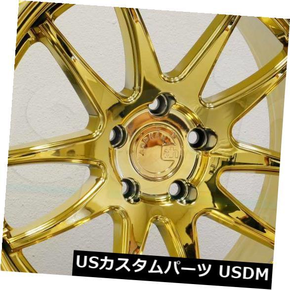 海外輸入ホイール 18x9.5 Aodhan DS02 DS2 5x120 15ゴールドバキュームホイールリムセット(4) 18x9.5 Aodhan DS02 DS2 5x120 15 Gold Vacuum Wheels Rims Set(4)