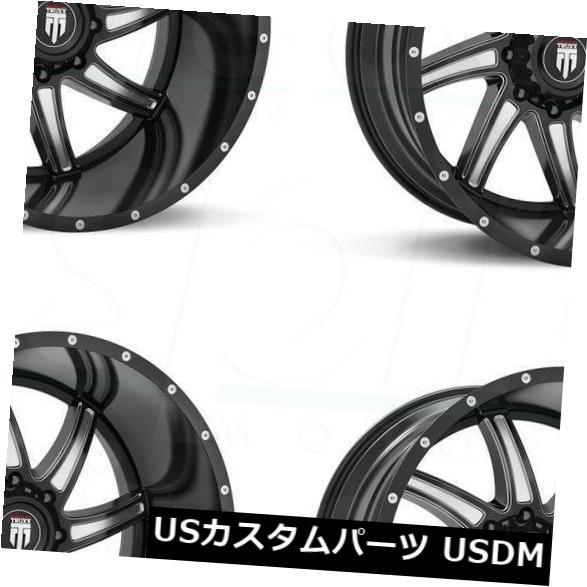 海外輸入ホイール 20x10 Truxx AT162 5x5.5 / 5x139.7 -24ブラックミルドホイールリムセット(4) 20x10 Truxx AT162 5x5.5/5x139.7 -24 Black Milled Wheels Rims Set(4)