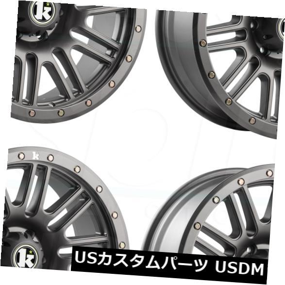 有名な高級ブランド 海外輸入ホイール 18x9クラッチKT01 6x5.5 / 6x139.7 0マットガンメタルホイールリムセット(4) 18x9 Klutch KT01 6x5.5/6x139.7 0 Matte Gunmetal Wheel Rim set(4), ウメマチ 6a0537d3