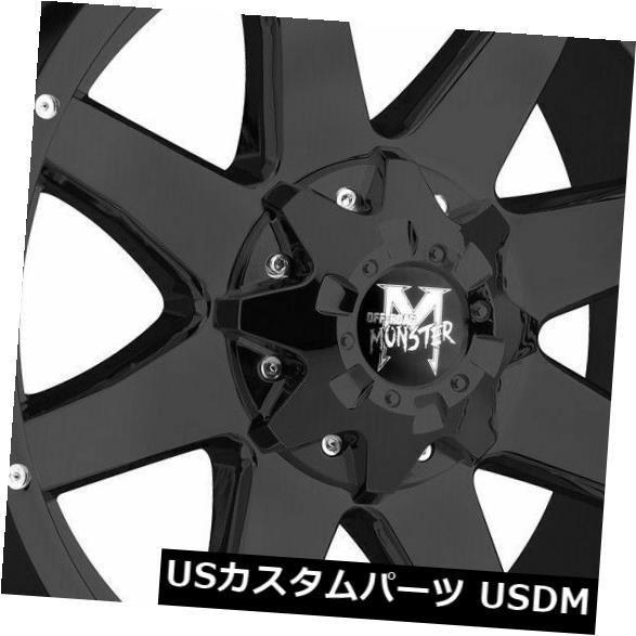 海外輸入ホイール 20x9オフロードモンスターM08 8x6.5 / 8x165.1 -12フラットブラックホイールリムセット(4) 20x9 Off-Road Monster M08 8x6.5/8x165.1 -12 Flat Black Wheels Rims Set(4)