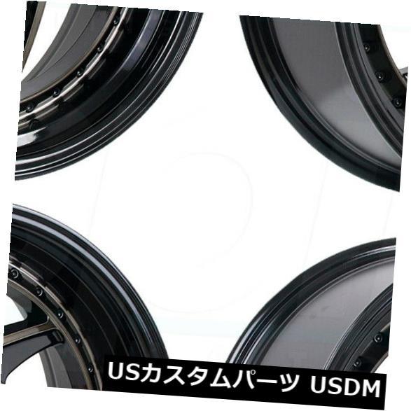 海外輸入ホイール 18x9.5 Regen5 R34 5x112 40ブラックホイールリムセット(4) 18x9.5 Regen5 R34 5x112 40 Black Wheels Rims Set(4)