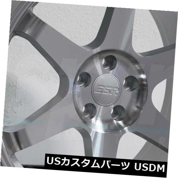海外輸入ホイール 19x8.5 / 19x9.5 ESR SR07 SR7 5x114.3 30/35機械加工シルバーホイールリムセット(4) 19x8.5/19x9.5 ESR SR07 SR7 5x114.3 30/35 Machined Silver Wheels Rims Set(4)