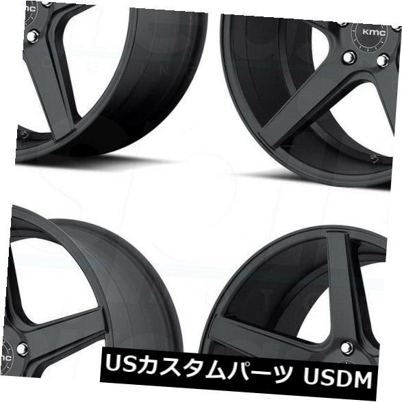 海外輸入ホイール 19x8.5 KMC KM685地区5x114.3 / 5x4.5 42サテンブラックホイールリムセット(4) 19x8.5 KMC KM685 District 5x114.3/5x4.5 42 Satin Black Wheels Rims Set(4)