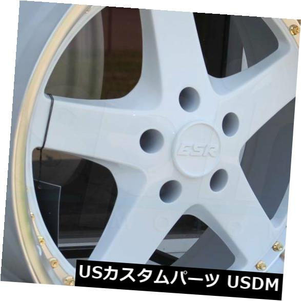 海外輸入ホイール 18x8.5 / 18x9.5 ESR SR04 SR4 5x120 30/35ホワイトホイールの新しいセット(4) 18x8.5/18x9.5 ESR SR04 SR4 5x120 30/35 White Wheels New Set(4)