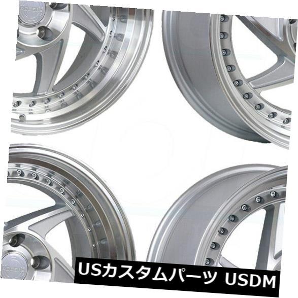 海外輸入ホイール 18x8.5 Regen5 R34 5x114.3 38シルバーホイールリムセット(4) 18x8.5 Regen5 R34 5x114.3 38 Silver Wheels Rims Set(4)