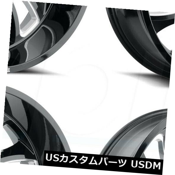 2021新発 海外輸入ホイール 24x14敵対的なH118デーモン8x180 -76ブラックミルドホイールリムセット(4) 8x180 24x14 Rims H118 Hostile H118 Demon 8x180 -76 Black Milled Wheels Rims Set(4), らぐー:252d32e4 --- greencard.progsite.com