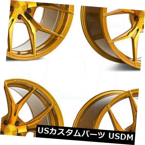 海外輸入ホイール 20x9 20x11 Rohana RFX5 5x114.3 22 28ゴールドホイールリムセット 4 20x9 20x11 Rohana RFX5 5x114.3 22 28 Gold Wheels Rims Set 4