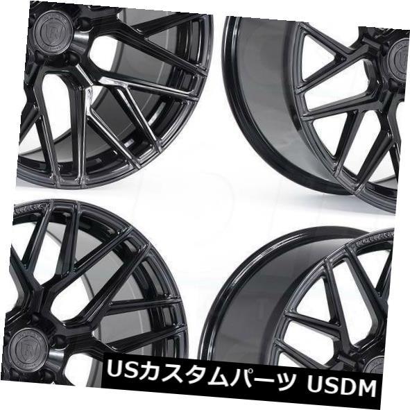 海外輸入ホイール 20x10 20x12 Rohana RFX10 5x114.3 25 22ブラックホイールリムセット 4 20x10 20x12 Rohana RFX10 5x114.3 25 22 Black Wheels Rims Set 4